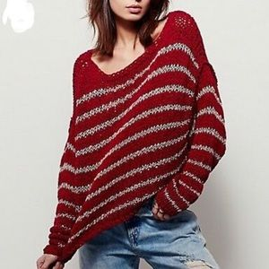 Free People cropped Striped Sweater Size XS